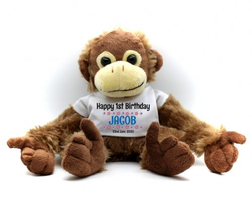 Personalised Monkey Teddy Bear N6 - Boys First Birthday Gift